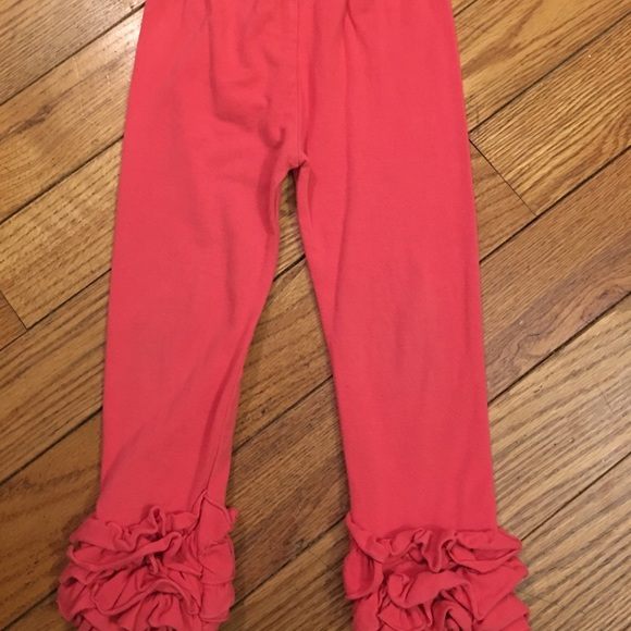 Other - Ruffle leggings coral color size 5-6T